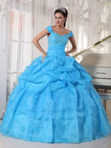 Off The Shoulder Beading Pick Ups Blue Lace Up Back Quinceanera Gowns