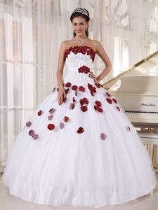 White Beading Strapless Strapless Tulle Dresses of 15