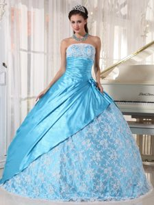 Lace Strapless Handmade Flowers Aqua Blue Layered Quinceanera Gowns