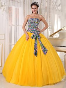 Printing Strapless Lace Up Back Ball Gown Tulle Unique Dress 15 in Yellow