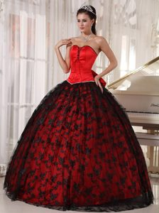 Black Lace Sweetheart Big Bowknot in Back Red Long Dress for 15