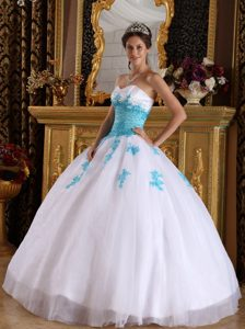 Zipper Up Back Appliques Beads White and Blue Dress for A Quince on Sale