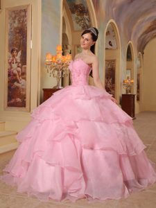 Layers Sweetheart Beading Flowers Pink Organza Sassy Quinces Dresses