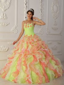 Strapless Ruffled Colorful Dresses for A Quinceanera
