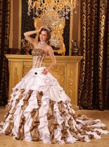 Leopard Layers Ruffle Brush Train Sweet Sixteen Quinceanera Dress