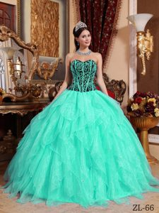 Embroidery Sweetheart Beading Layers Apple Green Quinceaneras Dresses