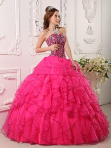 Beaded Sweetheart Ruffled Black Hem Hot Pink Organza Quinceanera Dress