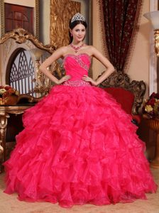 Organza Coral Red Lace Up Back Sweet 15 Dress with Ruffles and Beading