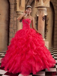 Ruffled Sweetheart Beading Coral Red Organza Ball Gown Quince Dresses
