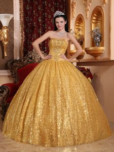Sequin Sweetheart Beading Golden Quinceanera Dresses with Lace Up Back