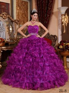 Fuchsia Sweetheart Beading Ruffled Organza Wonderful Quinceanera Gown