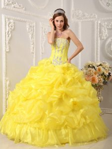 Gorgeous Strapless Applique Pick Ups Yellow Quinceanera Gowns Dresses