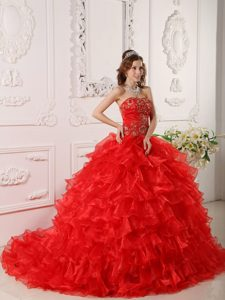 Embroidery Appliques Ruffled Brush Train Red Organza Superb Dress of 15