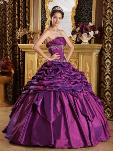 Quinceanera Dresses Gowns with Pick-ups and Appliques in Purple Taffeta