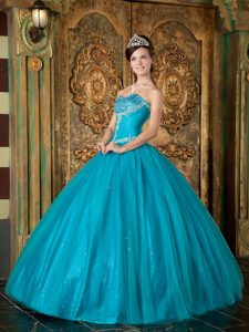Tulle Beading Appliques Sequin Dresses for Quinceaneras with Sweetheart