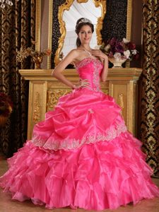 Layers Ruffled Strapless Applique Organza Full Length Dress 15 in Hot Pink
