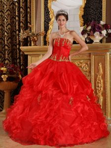 Strapless Appliques Ruffled Red Organza Latest Dresses for A Quinceanera