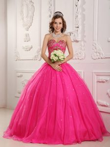 Stunning Beading Hot Pink Organza Quinceanera Dresses with Sweetheart