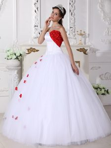 Floral Applique Sweetheart White and Red Sweet Sixteen Quinceanera Dress