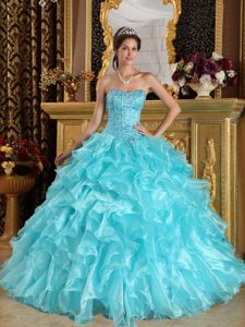 Ruffled Organza Beading Lace Up Back Sweet Sixteen Dresses in Aqua Blue