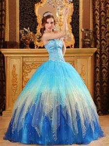 Colorful Beading Sweetheart Puffy Satin and Organza Quinceaneras Dress