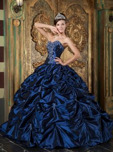 Pick Ups Appliques Sweetheart Navy Blue Quince Dresses Made by Taffeta