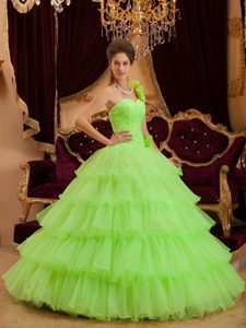 Lemon Green One Shoulder Layers Ruffled Beading Quinceanera Dresses