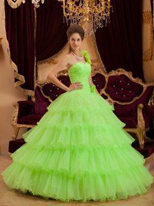 Lemon Green One Shoulder Layers Ruffled Beading Quinceanera Dresses