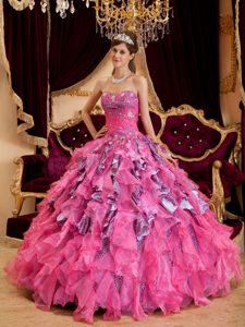 Leopard and Organza Beading Ruffled Quinceanera Ball Gowns in Hot Pink