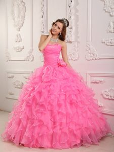Sweetheart Beading Ruffled Flowers Rose Pink Organza Quinceanera Dress