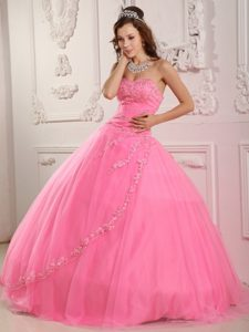 Latest Ball Gown Sweetheart Long Tulle Quinceaneras Gowns in Rose Pink