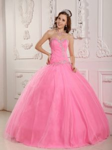 Sweetheart Long Tulle Rose Pink Flattering Quinces Dresses with Appliques