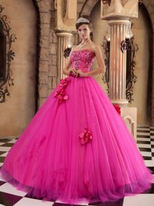 Sexy Hot Pink Strapless Quinceanera Gown Dresses and Tulle with Flowers