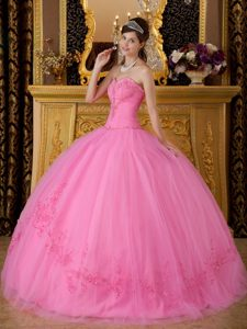 Top Rose Pink Sweetheart Long Tulle Quinceanera Dresses with Appliques