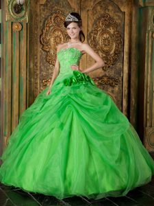 Most Popular Strapless Organza Beading Dresses for Quinceaneras in Spring Green