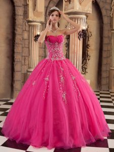 Popular Hot Pink Ball Gown Long Organza Beading Dress for Quinceaneras