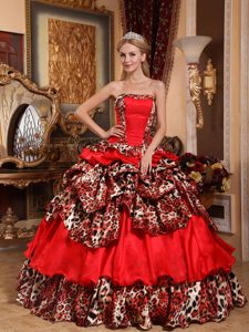 Lovely Red Strapless Dress for Quinceanera in and Leopard with Pick-ups