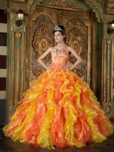 Fitted Orange Ball Gown Strapless Quinceaneras Dresses in Organza with Ruffles