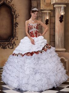 Fabulous White Organza and Leopard Ball Gown Sweetheart Quinceanera Gowns