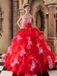 Impressive Red Ball Gown Strapless Beading Ruffled Quinces Dresses in Organza