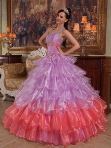Recommended Lavender Ball Gown Halter Organza Quince Dresses to Long