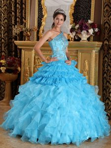 Special Aqua Blue One Shoulder Quinceanera Gown Dresses and Organza