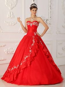 Magnificent Red A-line Sweetheart Quinceanera Dress with Embroidery and Beads