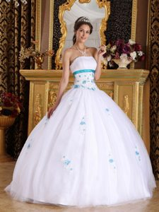 Amazing Strapless Quinceaneras Dresses and Tulle with Appliques in White