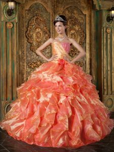 Exquisite Orange Ball Gown Strapless Quinceanera Dress with Beading and Ruffles