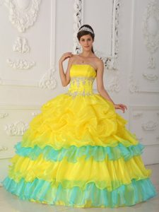Yellow Ball Gown Strapless Pretty Dresses for a Quince to Long in Organza