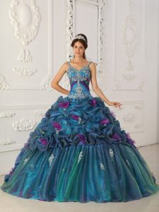 Beautiful Teal Ball Gown Straps Organza Sweet Sixteen Dresses with Chapel Train