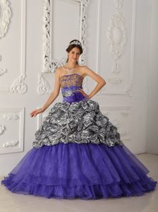 Fave Purple Strapless Quinceaneras Dress with Chapel Train in Zebra and Organza