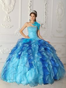 Traditional Aqua Blue Strapless Beading Quinceanera Gowns and Organza