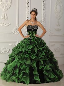 Classic Green Ball Gown Sweetheart Quinceaneras Dresses in Organza with Beading